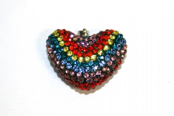 1pce x 28mm*22mm Multi-colour / Rainbow pave crystal half drilled heart / come with bail attached